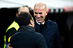 Real Sociedad's coach Eusebio Sacristan and Real Madrid's Real Madrid's coach Zinedine Zidane  during the match of La Liga between Real Madrid and   Real Sociedad at Santiago Bernabeu Stadium in Madrid, Spain. January 29th 2017. (ALTERPHOTOS/Rodrigo Jimenez)