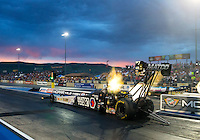 Jul 24, 2015; Morrison, CO, USA; NHRA top fuel driver Antron Brown during qualifying for the Mile High Nationals at Bandimere Speedway. Mandatory Credit: Mark J. Rebilas-USA TODAY Sports