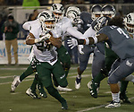 Colorado State running back Izzy Matthews (24) is grabbed by Nevada's Gabriel Sewell (7) in the first half of an NCAA college football game in Reno, Nev., Saturday, Nov. 10, 2018. (AP Photo/Tom R. Smedes)