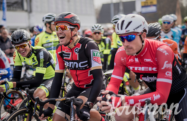 a relaxed Greg Van Avermaet (BEL/BMC) on the start grid<br /> <br /> 60th E3 Harelbeke (1.UWT)<br /> 1day race: Harelbeke &rsaquo; Harelbeke - BEL (206km)