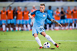 SHENZHEN - JULY 28: Manchester City defender Angelino Tasende in action during the match between Borussia Dortmund vs Manchester City FC at the 2016 International Champions Cup China match at the Shenzhen Stadium on 28 July 2016 in Shenzhen, China. (Photo by Power Sport Images/Getty Images)