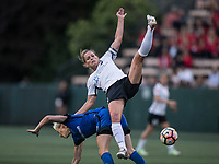 Seattle, WA - Saturday July 22, 2017: Megan Rapinoe, Christie Pearce during a regular season National Women's Soccer League (NWSL) match between the Seattle Reign FC and Sky Blue FC at Memorial Stadium.
