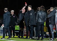 Referee Kevin Johnson shows a red card to Fleetwood Town's manager Joey Barton (not shown)  <br /> <br /> Photographer Andrew Kearns/CameraSport<br /> <br /> The EFL Sky Bet League One - Wycombe Wanderers v Fleetwood Town - Tuesday 11th February 2020 - Adams Park - Wycombe<br /> <br /> World Copyright © 2020 CameraSport. All rights reserved. 43 Linden Ave. Countesthorpe. Leicester. England. LE8 5PG - Tel: +44 (0) 116 277 4147 - admin@camerasport.com - www.camerasport.com