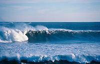 Gary Kong Elkerton (AUS) surfing Mundaka rivermouth during an epic swell in November 1989. Mundaka, Basque Country, Spain. Photo: joliphotos.com