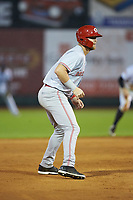 Justin Bellinger (50) of the Greeneville Reds takes his lead off of second base against the Pulaski Yankees at Calfee Park on June 23, 2018 in Pulaski, Virginia. The Reds defeated the Yankees 6-5.  (Brian Westerholt/Four Seam Images)
