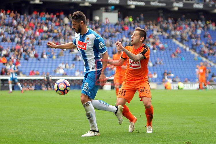 League Santander 2016/2017. Game: 9.<br /> RCD Espanyol vs SD Eibar: 3-3.<br /> Martin Demichelis vs Ruben Pe&ntilde;a.