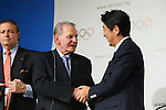 (L to R) <br />  Jacques Rogge, <br />  Shinzo Abe, <br /> SEPTEMBER 7, 2013 : <br /> A press conference after Tokyo was announced as the winning city bid for the 2020 Summer Olympic Games at the 125th International Olympic Committee (IOC) session in Buenos Aires Argentina, on Saturday September 7, 2013. (Photo by YUTAKA/AFLO SPORT) [1040]