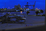 Early morning ships docked at Puerto del Rosario harbour, Fuerteventura,Canary Islands, Spain. May 2007