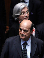 Il leader dimissionario del Partito Democratico Pier Luigi Bersani e, dietro di lui, il presidente dimissionario Rosi Bindi durante la sesta seduta comune di senatori e deputati per l'elezione del nuovo Capo dello Stato, alla Camera dei Deputati, Roma, 20 aprile 2013..Italian Democratic Party's resigning leader Pier Luigi Bersani, foreground, and party's resigning president Rosi Bindi during the sixth common plenary session of senators and deputies to elect the new Head of State, at the Lower Chamber in Rome, 20 April 2013..UPDATE IMAGES PRESS/Isabella Bonotto