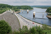 thinned out peloton crossing the Gileppe Dam<br /> <br /> Ster ZLM Tour (2.1)<br /> Stage 4: Hotel Verviers &gt; La Gileppe (Jalhay)(190km)