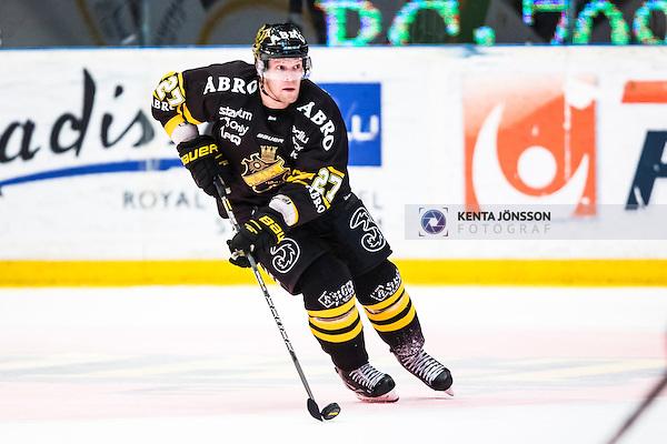 Stockholm 2014-03-29 Ishockey Kvalserien AIK - Malm&ouml; Redhawks  :  <br /> AIK:s Jordan Hendry i aktion <br /> (Foto: Kenta J&ouml;nsson) Nyckelord:  AIK Gnaget Malm&ouml; Redhawks portr&auml;tt portrait