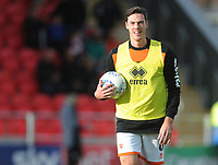 Blackpool's Ben Heneghan during the pre-match warm-up <br /> <br /> Photographer Kevin Barnes/CameraSport<br /> <br /> Emirates FA Cup First Round - Exeter City v Blackpool - Saturday 10th November 2018 - St James Park - Exeter<br />  <br /> World Copyright &copy; 2018 CameraSport. All rights reserved. 43 Linden Ave. Countesthorpe. Leicester. England. LE8 5PG - Tel: +44 (0) 116 277 4147 - admin@camerasport.com - www.camerasport.com