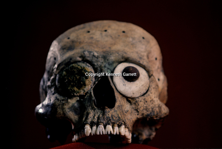 Skull with filed teeth, Aztec, Mexico, Templo Mayor.