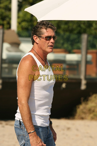 DAVID HASSELHOFF .Baywatch star David Hasselhoff enjoys the afternoon at the Polaroid House, Malibu, California, USA,.05 August 2007..half length white vest top beach sunglasses profile.CAP/ADM/RE.©Russ Elliot/AdMedia/Capital Pictures.