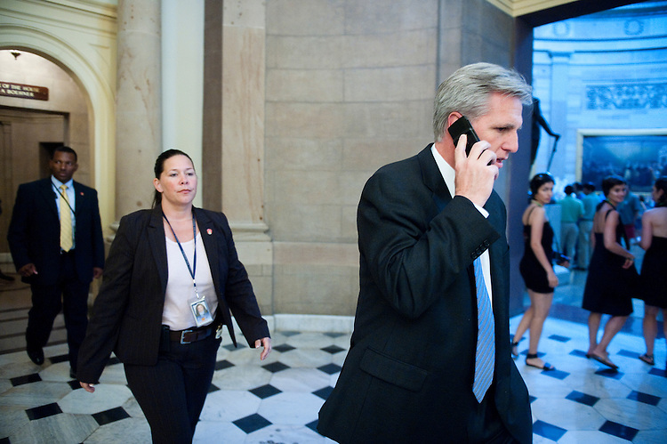UNITED STATES - JULY 30: House Majority Whip Kevin McCarthy, R-Calif., leaves Speaker Boehner's office on Saturday afternoon, July 30, 2011. (Photo By Bill Clark/Roll Call)