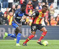 20170415 - LENS , FRANCE : Lens' Thomas Ephestion (R) and Auxerre's Vieux Sane (R) pictured during the soccer match between Racing Club de LENS and AJ Auxerre , on the thirty third matchday in the French Dominos pizza Ligue 2 at the Stade Bollaert Delelis stadium , Lens . Saturday 15 April 2017 . PHOTO DIRK VUYLSTEKE | SPORTPIX.BE