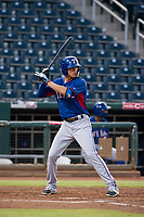 AZL Rangers shortstop Chris Seise (8) at bat against the AZL Indians on August 26, 2017 at Goodyear Ball Park in Goodyear, Arizona. AZL Indians defeated the AZL Rangers 5-3. (Zachary Lucy/Four Seam Images)