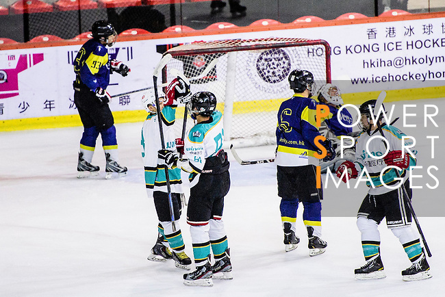 Medical Kings Forward #81 Keith Tsang (r) celebrates with Medical Kings Skater #8 Hayes To (l) after scoring during the Principal Standard League match between Medical Winner Kings vs Verity at the Mega Ice on 17 January 2017 in Hong Kong, China. Photo by Marcio Rodrigo Machado / Power Sport Images
