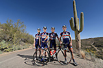 TUCSON, AZ - MARCH 4:  (L-R) Igor Volshteyn, Andrew (?), Greg Olsen, and Mitch Jacaruso, owners of the Champion System Stan's NoTubes Pro Cycling Team pose for a portrait on March 4, 2014 in Tucson, Arizona.  (Photo by Donald Miralle for Wall Street Journal)