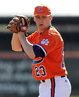 Clemson University pitcher Justin Sarratt (23) in a game between the Clemson Tigers and Mercer Bears on Feb. 23, 2008, at Doug Kingsmore Stadium in Clemson, S.C. Photo by: Tom Priddy/Four Seam Images