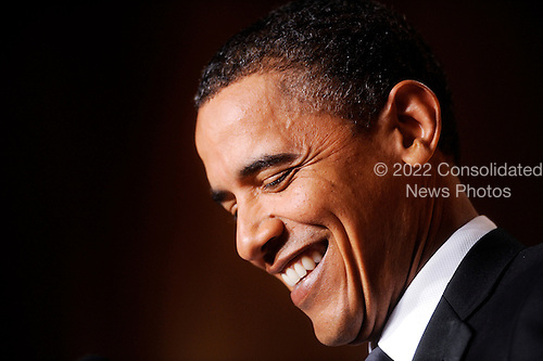 United States President Barack Obama smiles during the White House Correspondents' Association Dinner at the Washington Hilton in Washington, DC, on Saturday, May 1, 2010..Credit: Olivier Douliery / Pool via CNP