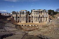 Roman Theatre, built in 16 - 15 BC, promoted by Marcus Vipsanius Agrippa (63 BC-12 BC); Scenae Frons built in 105 AD and restored between 333 and 335 AD. Wide steps conceived for 6'000 of spectators. Excavation of the theatre in 1910; Since 1933, heart of the Classic Theatre Summer Festival in Spain, Merida (Augusta Emerita, Capital of Hispania Ulterior), Extremadura, Spain