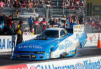 Sep 27, 2019; Madison, IL, USA; NHRA funny car driver Tommy Johnson Jr during qualifying for the Midwest Nationals at World Wide Technology Raceway. Mandatory Credit: Mark J. Rebilas-USA TODAY Sports
