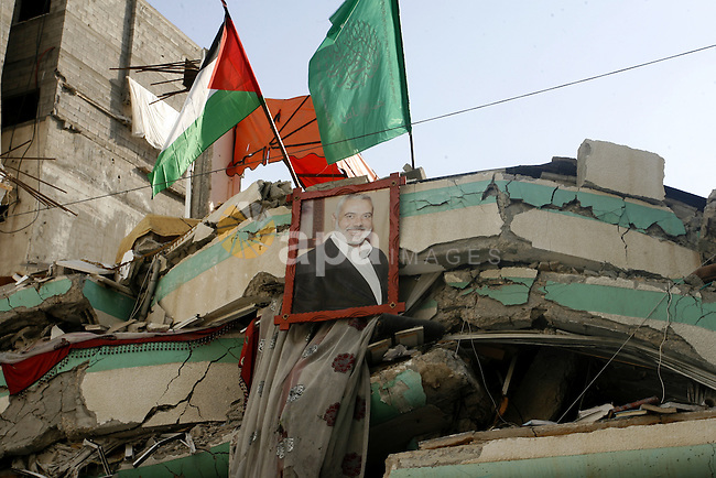 A Picture shows of the senior Hamas leader Ismail Haniyeh, at his house in Gaza city on October 9, 2014. The Palestinian unity government which took the oath of office in June under technocrat prime minister Rami Hamdallah arrived to Gaza Strip on Thursday to convene the first fully meeting. Hamdallah said that the unity government will rebuild the bombed-out Gaza Strip following a seven-week Israeli offensive. Photo by Abed Rahim Khatib