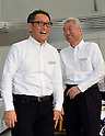 January 30, 2014, Tokyo, Japan - President Akio Toyoda, left, of Japan's Toyota Motor Corp., shares a laugh with its Vice Presdident Mitsuhisa Kato during a presentation of its motor sports activities for 2014 in Tokyo on Thursday, January 30, 2014. They will include participation in the FIA World Endurance Championship and the Le Mans 24-hour race, the NASCAR racing series and the Super GT and Super Formula championships. Toyoda said its motor sports activities through Lexus Racing and Toyota Racing are aimed to bring more joy to more people through automobiles.  (Photo by Natsuki Sakai/AFLO)