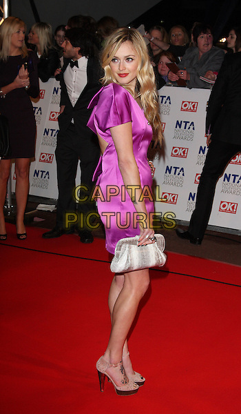 FEARNE COTTON.The 15th National Television Awards held at the O2 Arena, London, England. .January 20th, 2010 .NTA NTAs full length purple silk satin dress side silver clutch bag looking over shoulder .CAP/ROS.©Steve Ross/Capital Pictures.