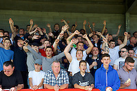 Wycombe Wanderers fans during the Sky Bet League 2 match between Crawley Town and Wycombe Wanderers at Broadfield Stadium, Crawley, England on 6 August 2016. Photo by Alan  Stanford / PRiME Media Images.
