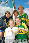 HAPPY CAMPERS: Young football from the Castleisland District enjoying the Kerry VHI Cul Camp in Castleisland on Friday last..Front L/r. lauren Cronin Hickey (Castleisland), Leeann Cahill (Cordal)..Back L/r. David Clarke (Castleisland), Michael O'Sullivan (Castleisland) and Alan Browne (Scartaglin).   Copyright Kerry's Eye 2008
