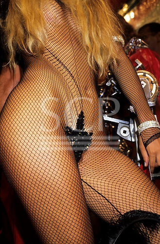 Rio de Janeiro, Brazil. Carnival; a blonde woman in a fishnet bodysuit, with strategically placed sequin leaves.