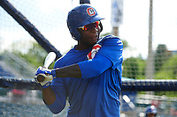 Chattanooga Lookouts third baseman Miguel Sano (24) during practice before a game against the Jacksonville Suns on April 30, 2015 at AT&T Field in Chattanooga, Tennessee.  Jacksonville defeated Chattanooga 6-4.  (Mike Janes/Four Seam Images)