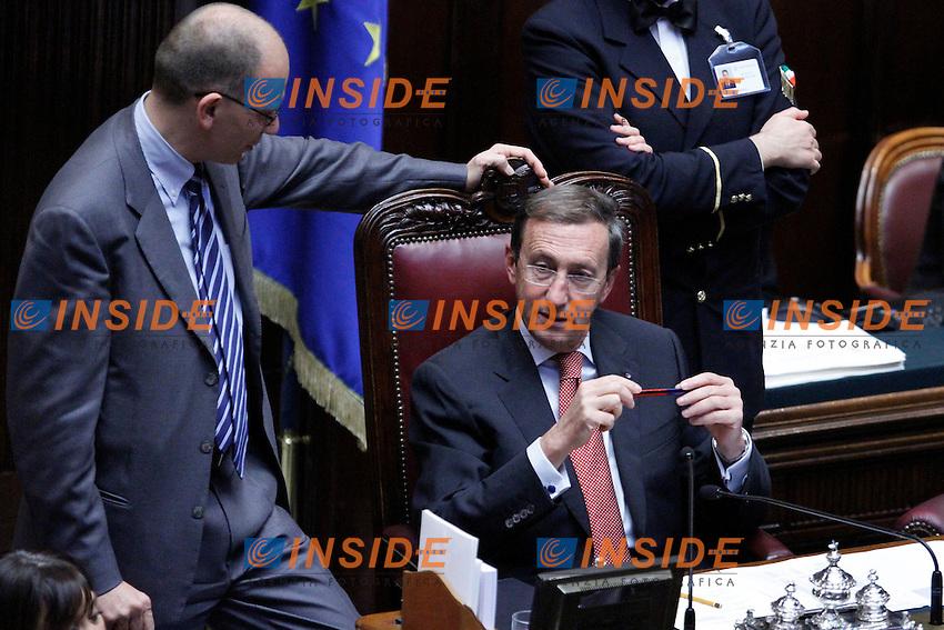 COMUNICAZIONI DEL NEO  PRESIDENTE DEL CONSIGLIO E VOTO DI FIDUCIA PER IL NUOVO GOVERNO..NELLA FOTO IL PRESIDENTE DELLA CAMERA GIANFRANCO FINI ED ENRICO LETTA..ROMA 18 NOVEMBRE  2011..PHOTO  SERENA CREMASCHI INSIDEFOTO..............................