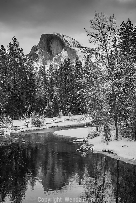 Reflection of Half Dome in the Merced River on a snowy day, framed with snow-kissed trees on the river bank.