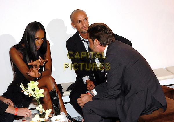 Naomi Campbell, Peyman Amin, Manuel Frei, GQ Chefredakteur, GQ STYLE NIGHT in der Wappenhalle München am 9. Juli 2007, Aftershow, (c) Goran Nitschke/People Picture.