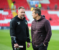 Forest Green Rovers' assistant manager Scott Lindsey, left with Forest Green Rovers manager Mark Cooper<br /> <br /> Photographer Andrew Vaughan/CameraSport<br /> <br /> The EFL Sky Bet League Two - Lincoln City v Forest Green Rovers - Saturday 3rd November 2018 - Sincil Bank - Lincoln<br /> <br /> World Copyright &copy; 2018 CameraSport. All rights reserved. 43 Linden Ave. Countesthorpe. Leicester. England. LE8 5PG - Tel: +44 (0) 116 277 4147 - admin@camerasport.com - www.camerasport.com