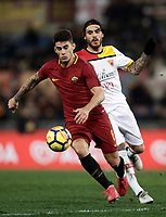 Calcio, Serie A: AS Roma - Benevento, Roma, stadio Olimpico, 11 gennaio 2018.<br /> Roma's Diego Perotti (l) in action with Benevento's Nicolas Viola (r) during the Italian Serie A football match between AS Roma and Benevento at Rome's Olympic stadium, February 11, 2018.<br /> UPDATE IMAGES PRESS/Isabella Bonotto