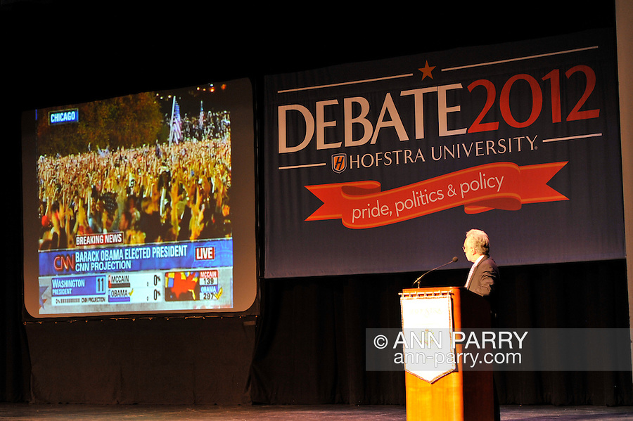"""Wolf Blitzer, anchor of CNN's The Situation Room, speaking at Hofstra University on Thursday, March 29, 2012, in Hempstead, New York, USA. During Blitzer's talk, he shared news clips, including from CNN coverage of 2008 Election Night, he anchored, when Barak Obama won the Presidential election. Hofstra's """"The World Today"""" event is part of """"Debate 2012 - Pride, Politics and Policy"""" which leads up to the Presidential Debate Hofstra is hosting on October 15, 2012."""