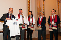 Stefhan Jekel, managing director of EMEA, former U.S. Men's National Team star Jeff Agoos, U.S. women national team midfielder Carli Lloyd, U.S. Soccer president Sunil Gulati, and New York Red Bulls General Manager Jerome de Bontin during the centennial celebration of U. S. Soccer at the New York Stock Exchange in New York, NY, on April 02, 2013.