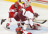 Sarah Steele (BU - 4), Erin O'Neil (BU - 31), Megan Keller (BC - 4) -  The Boston College Eagles defeated the visiting Boston University Terriers 5-0 on BC's senior night on Thursday, February 19, 2015, at Kelley Rink in Conte Forum in Chestnut Hill, Massachusetts.