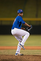 AZL Cubs 1 relief pitcher Jonathan Bruzual (37) delivers a pitch during an Arizona League game against the AZL Diamondbacks at Sloan Park on June 18, 2018 in Mesa, Arizona. AZL Diamondbacks defeated AZL Cubs 1 7-0. (Zachary Lucy/Four Seam Images)