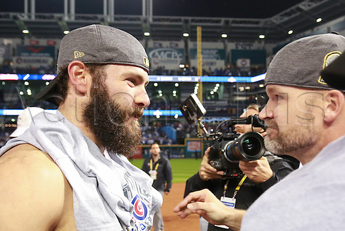 02.11.2016. Cleveland, OH, USA.  Chicago Cubs starting pitcher Jake Arrieta (49) and catcher David Ross (3) celebrate after winning game 7 of the 2016 World Series against the Chicago Cubs and the Cleveland Indians at Progressive Field in Cleveland, OH. Chicago defeated Cleveland 8-7 in 10 innings.