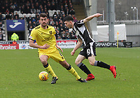 Lewis Morgan gets the better of Shaun Byrne in the St Mirren v Livingston Scottish Professional Football League Ladbrokes Championship match played at the Paisley 2021 Stadium, Paisley on 14.4.18.