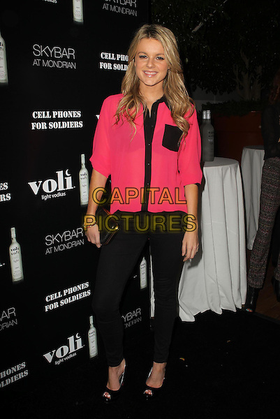 Ali Fedotowsky.Voli Lights Vodka Benefit With Fergie Held at SkyBar at the Mondrian. West Hollywood, California, USA, .6th December 2012..full length pink shirt black trim collar pocket jeans clutch bag peep toe shoes .CAP/ADM/KB.©Kevan Brooks/AdMedia/Capital Pictures.