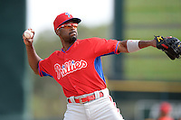 Philadelphia Phillies shortstop Jimmy Rollins (11) during a spring training game against the Baltimore Orioles on March 7, 2014 at Ed Smith Stadium in Sarasota, Florida.  Baltimore defeated Philadelphia 15-4.  (Mike Janes/Four Seam Images)