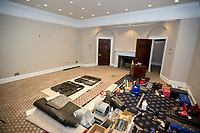 The Roosevelt Room in the White House West Wing in Washington, DC as it is undergoing renovations while United States President Donald J. Trump is vacationing in Bedminster, New Jersey on Friday, August 11, 2017.  The Roosevelt Room is being used as a staging area for worker's tools.<br /> Credit: Ron Sachs / CNP /MediaPunch
