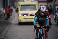 Gediminas Bagdonas (LTU/AG2R) ending up in the back of the peloton after being involved in a big crash earlier<br /> <br /> 102nd Ronde van Vlaanderen 2018 (1.UWT)<br /> Antwerpen - Oudenaarde (BEL): 265km