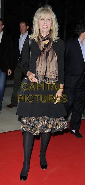 Joanna Lumley .attending the McLaren Automotive Showroom Launch at One Hyde Park, Knightsbridge, London, England, UK, June 21st 2011..full length black brown scarf trim tights patent shoes  coat bag .CAP/CAN.©Can Nguyen/Capital Pictures.